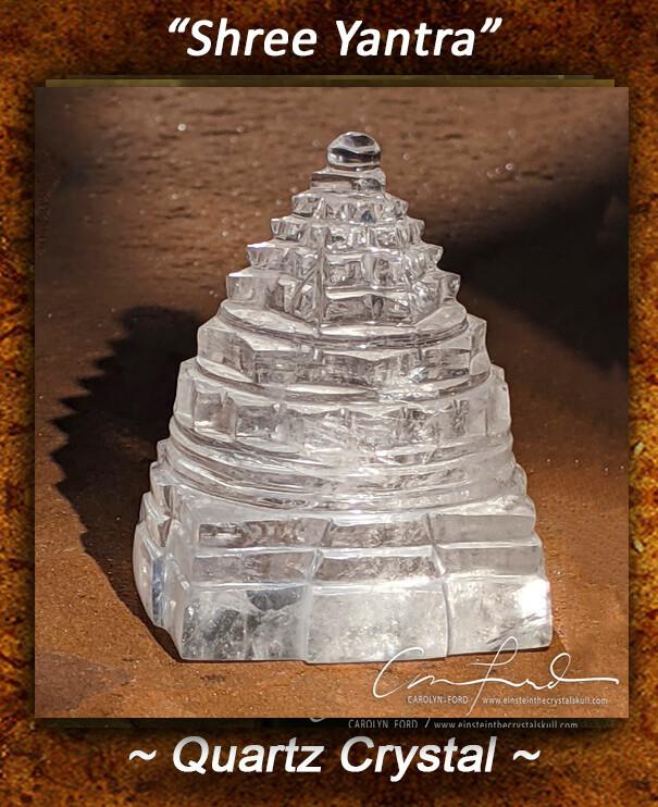Shree Yantra In Natural Quartz Crystal ~  Einstein the Ancient Crystal Skull Imprinted
