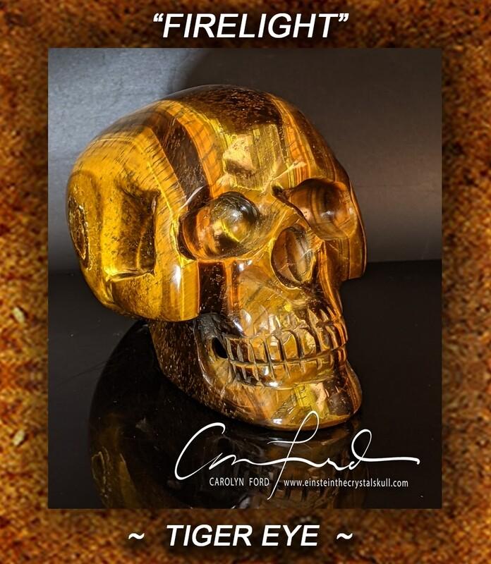 Tiger Eye Skull, Einstein Imprinted Skull