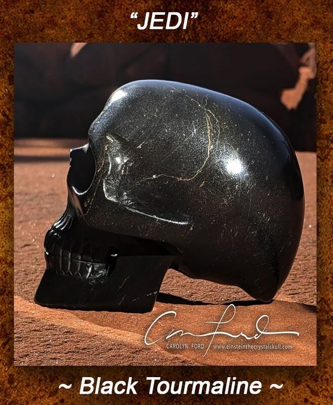BLACK TOURMALINE, Einstein Imprinted Skull,