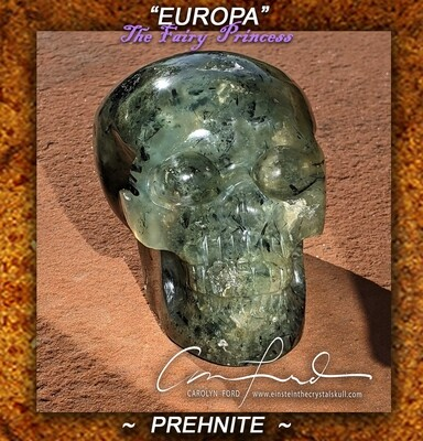 Prehnite Tourmalated w/ Epidote & Black Tourmaline Skull, Einstein Imprinted,