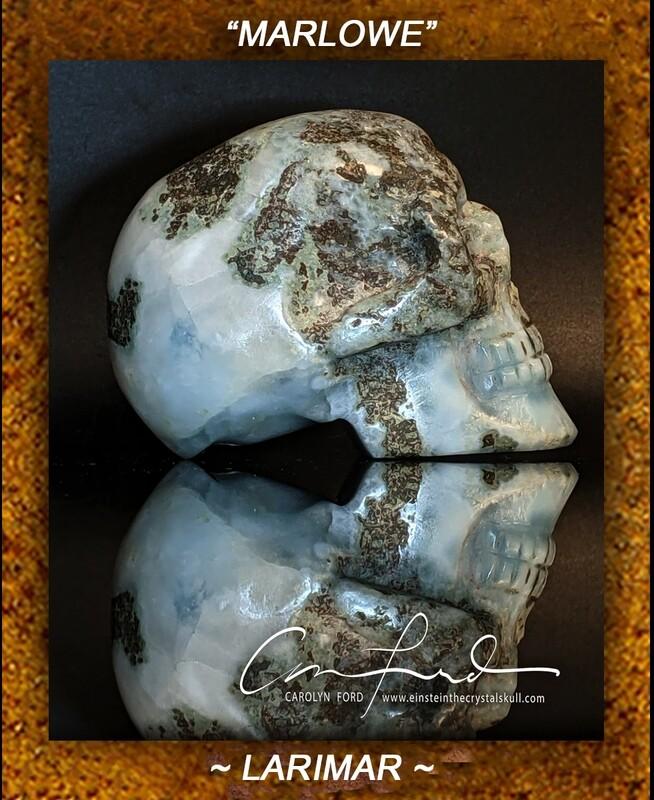 Larimar Skull  Einstein Imprinted Skull