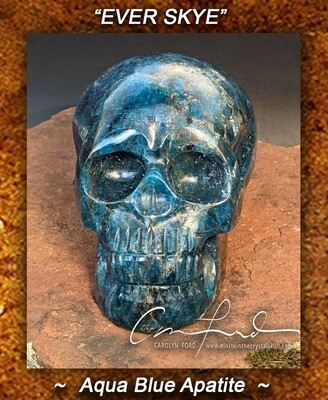 APATITE (Blue/Green) Skull,  the Ancient Crystal Skull Imprinted,