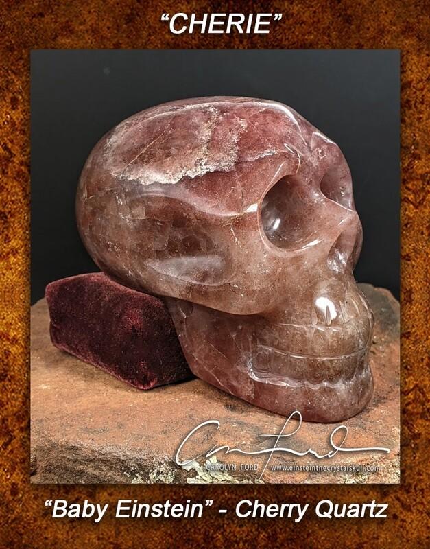 Baby Einstein ~ Cherry Quartz Skull, Einstein Imprinted