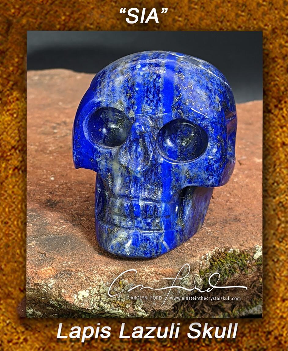 Lapis Lazuli Skull EINSTEIN Imprinted,