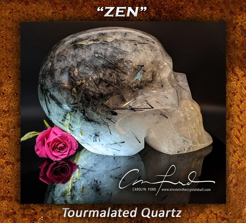 Tourmalated Quartz  Skull - Einstein Imprinted