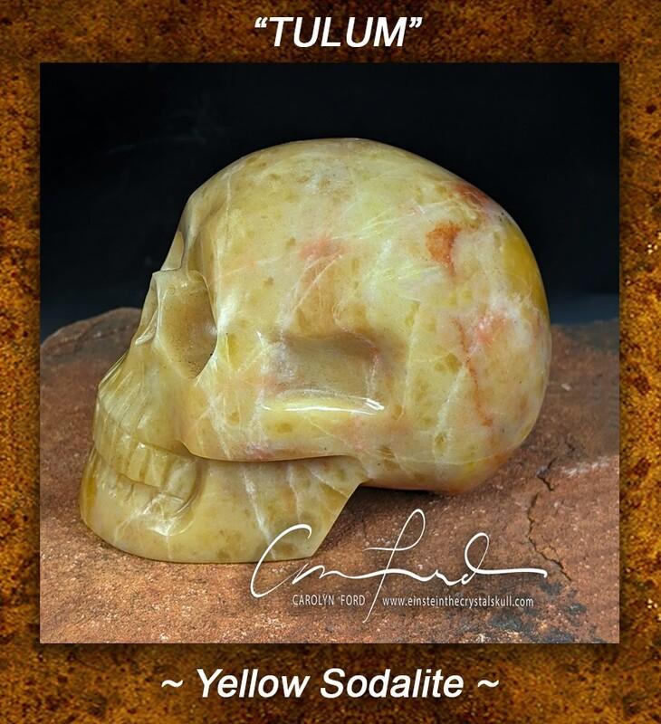 SODALITE  (yellow)~Skull, Einstein Imprinted,