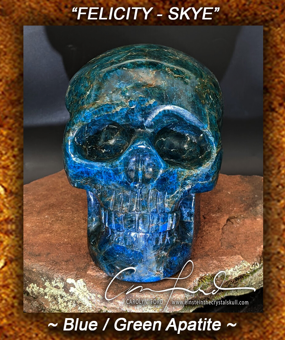 APATITE (Blue/Green) Skull,  the Ancient Crystal Skull Imprinted,