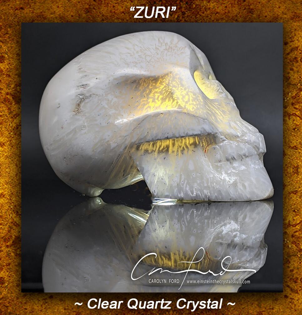 Scolecite Skull, Einstein Imprinted,