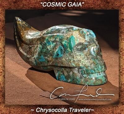 Chrysocolla Traveler Skull, Einstein Imprinted,
