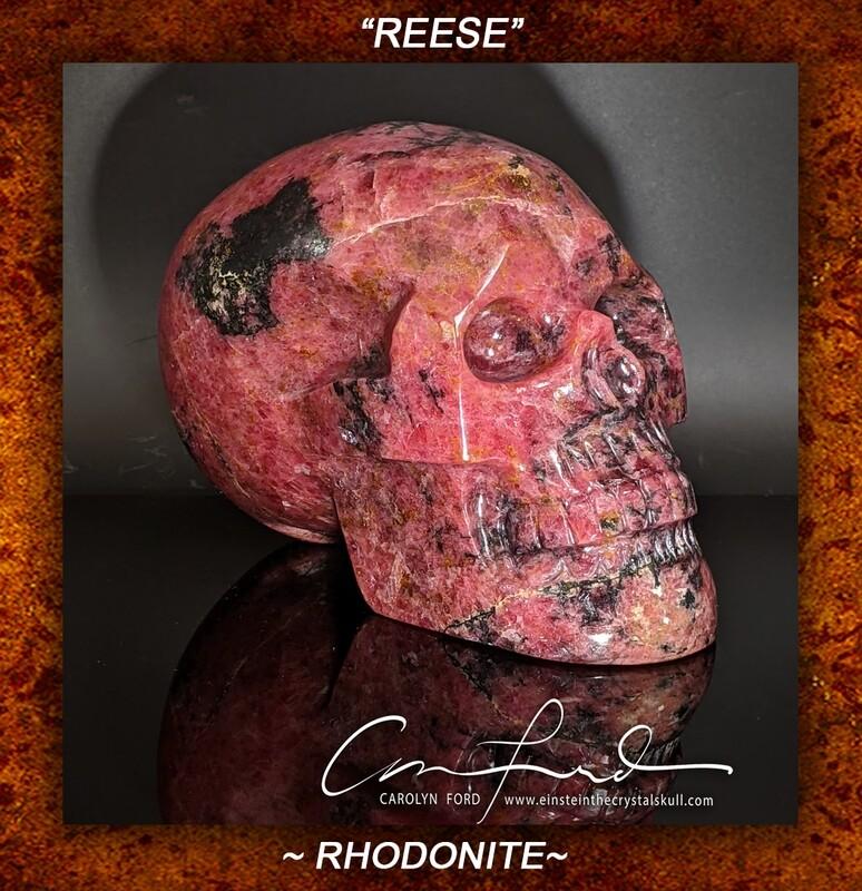 RHODONITE Skull, Einstein Imprinted ~