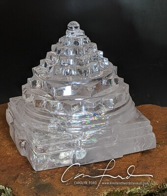 Shree Yantra In Natural Quartz Crystal ~  Einstein the Ancient Crystal Skull Imprinted