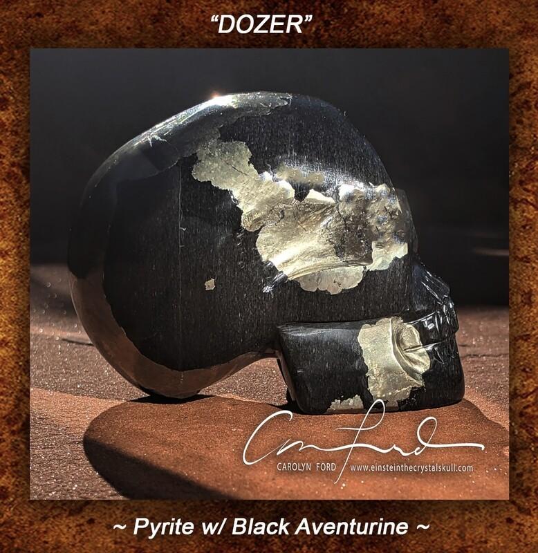 Pyrite w/ Black Aventurine - Skull, Einstein Imprinted