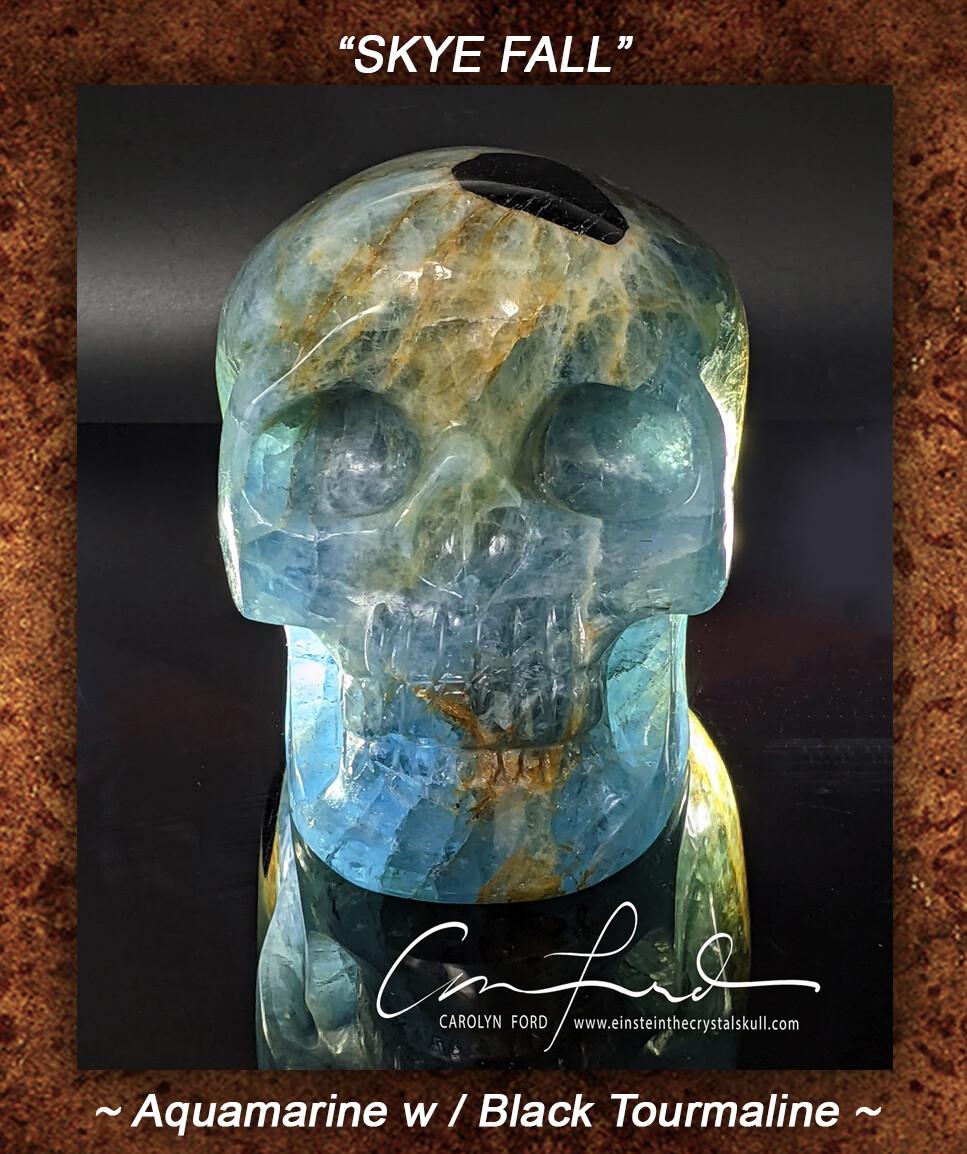 AQUAMARINE Skull w/ Black Tourmaline, Einstein Imprinted