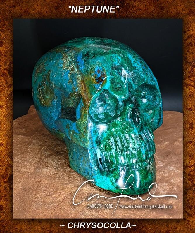 CHRYSOCOLLA  Skull, Einstein Imprinted,