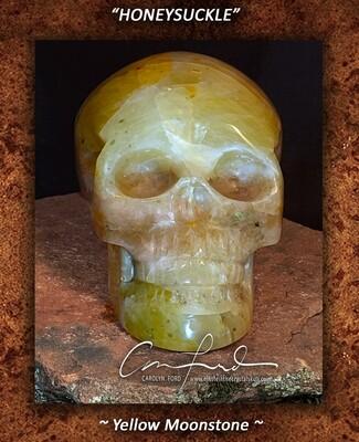 MOONSTONE (Yellow) Skull, Einstein Imprinted,