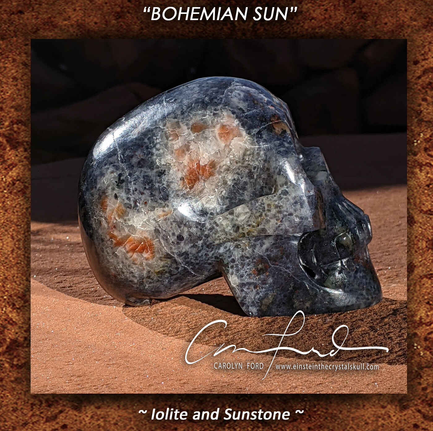 Sunstone and Iolite,  Einstein the Ancient Crystal  Skull Imprinted,