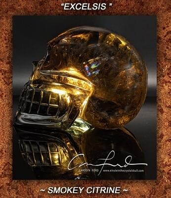 Smokey Citrine Quartz Crystal Skull, Einstein Imprinted,