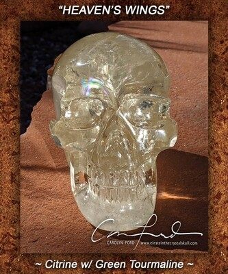 Citrine w/ Green Tourmaline Skull