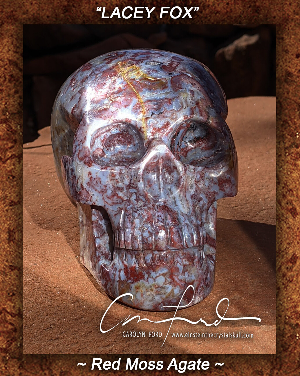 Red Moss Agate Skull,  Einstein the Ancient Crystal  Skull Imprinted