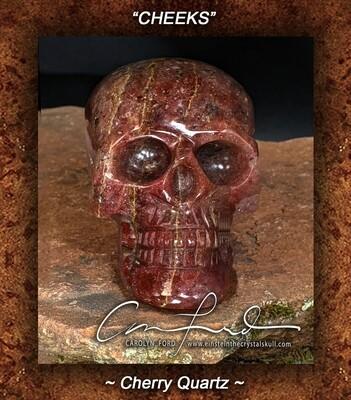 Cherry Quartz Crystal Skull, Einstein Imprinted