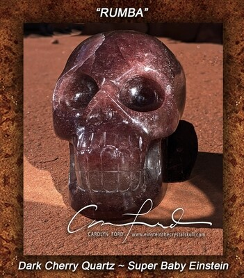 Baby Einstein -Super ~ Dark Cherry Quartz Skull, Einstein Imprinted