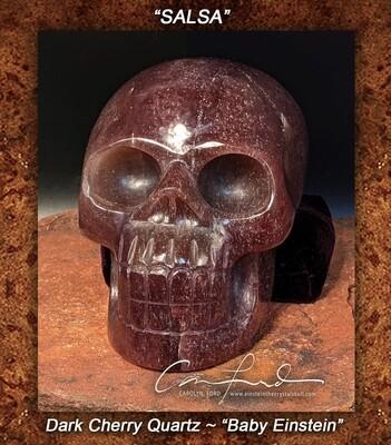 Baby Einstein ~ Dark Cherry Quartz Skull, Einstein Imprinted