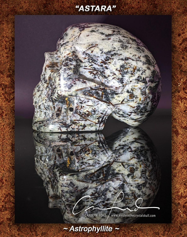 Astrophyllite Skull,  Einstein the Ancient Crystal  Skull Imprinted