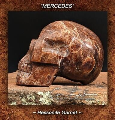 GARNET (Hessonite) Skull, Einstein Imprinted Skull