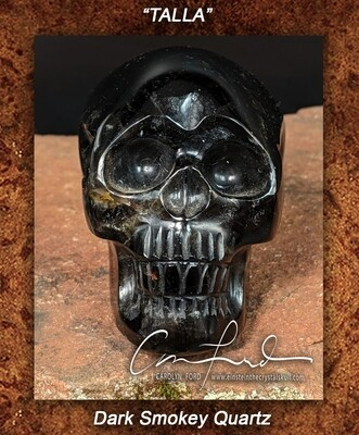 Dark Smokey Quartz Crystal Skull Einstein Imprinted.