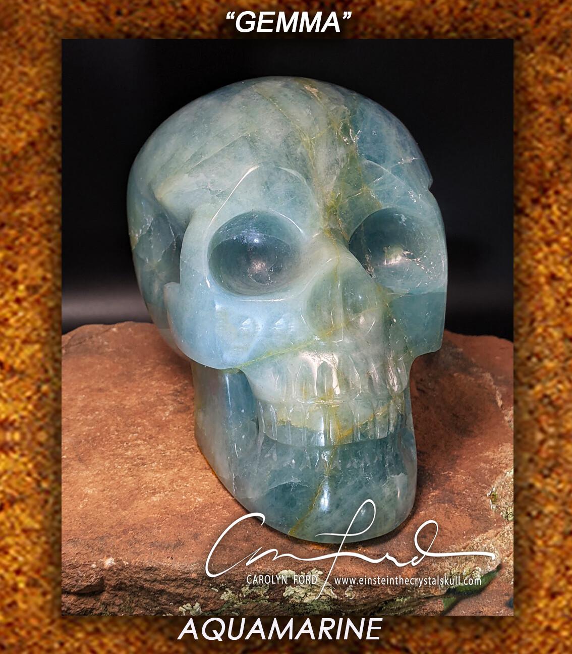AQUAMARINE Skull, Einstein Imprinted ~