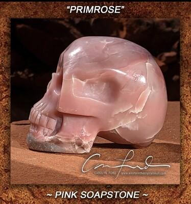 Pink Soapstone Skull, Einstein Imprinted,