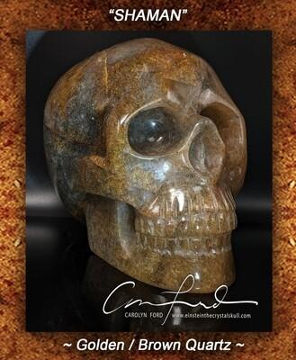 Golden / Brown Quartz Skull, Einstein Imprinted
