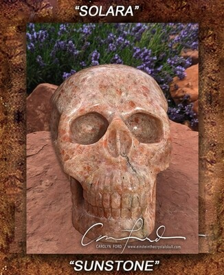 SUNSTONE,  Einstein the Ancient Crystal  Skull Imprinted,