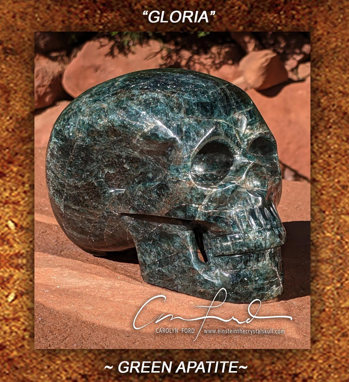 Green Apatite Imprinted Skull,