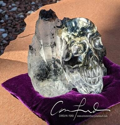 Clear Quartz Tourmalated Natural Skull, Einstein Imprinted