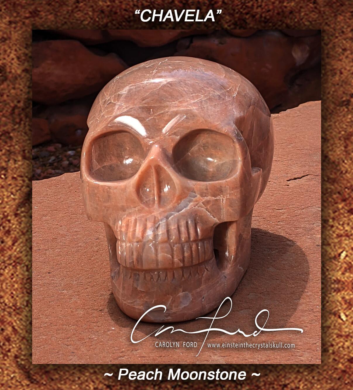 MOONSTONE (Peach) Skull, Einstein Imprinted,