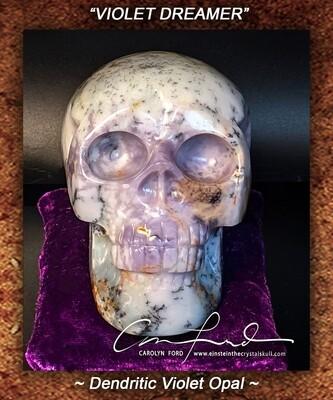 Dendritic Violet Opal Skull, Einstein Imprinted,