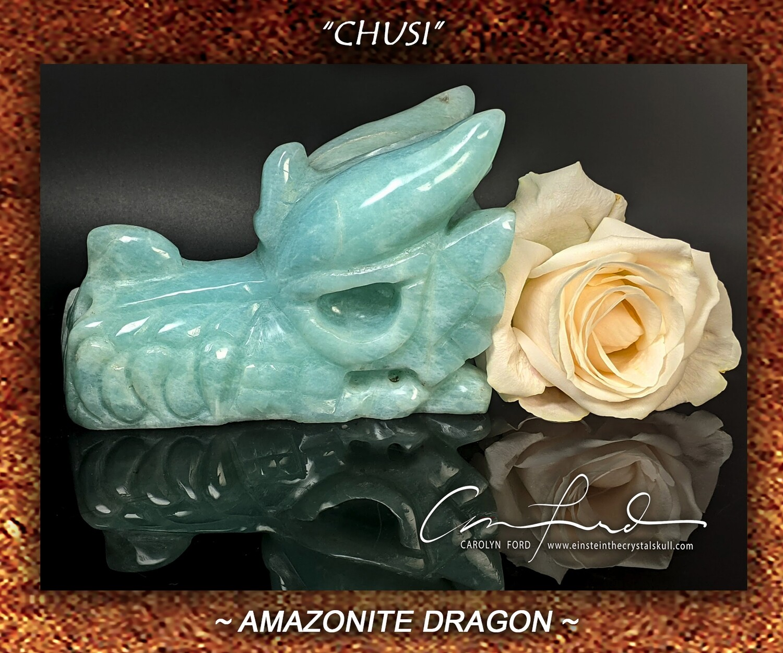 AMAZONITE Dragon, Einstein Imprinted
