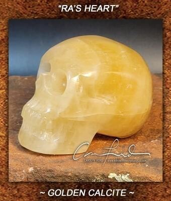Calcite (Golden) Einstein Imprinted Crystal Skull