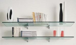 2 estantes de cristal con soportes (90x15)