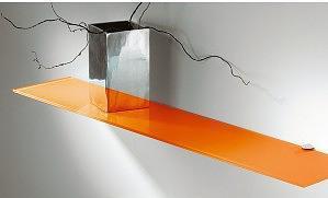 2 estantes de cristal naranja con soportes (60x15)