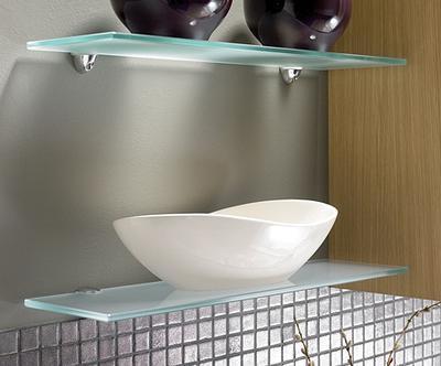 2 estantes de cristal satinado con soportes (40x15)