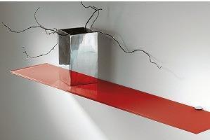 2 estantes de cristal rojo con soportes (60x15)