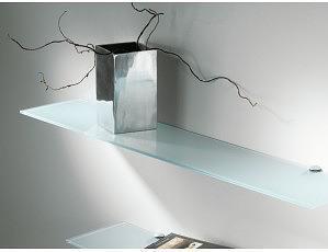 2 estantes de cristal satinado con soportes (90x15)