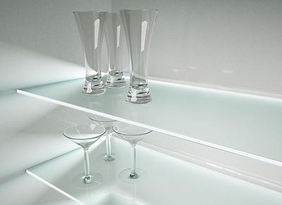 2 estantes de cristal satinado con soportes (60x15)
