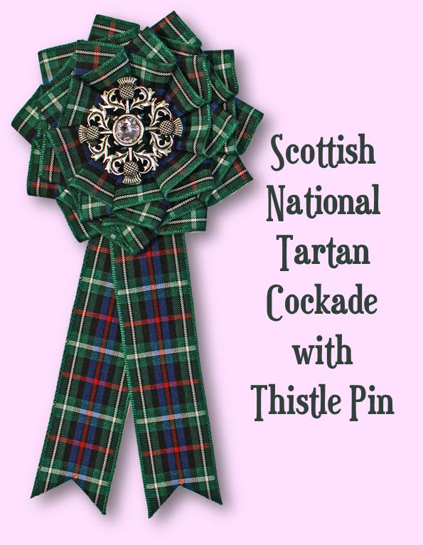 Scottish National Tartan Cockade with Thistle Pin
