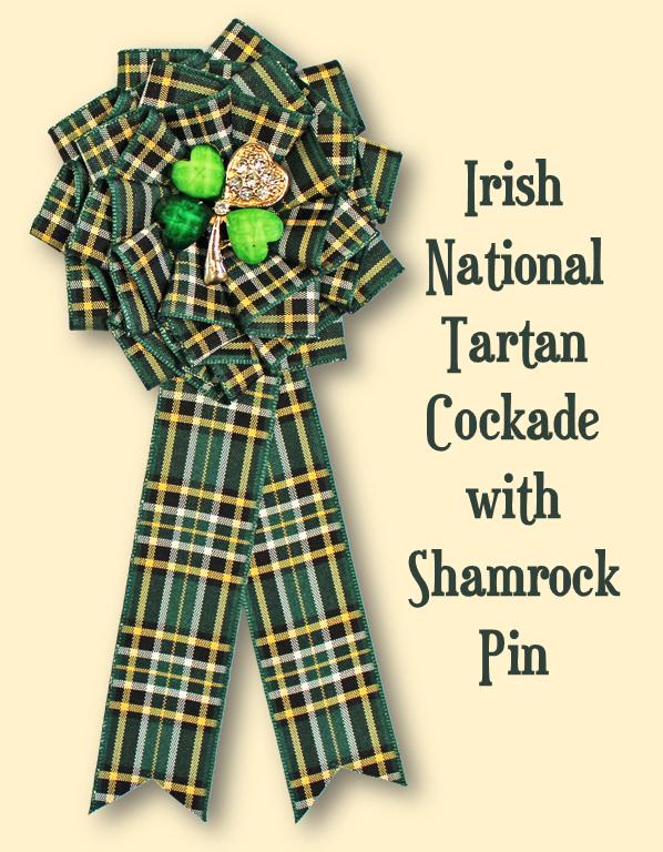 Irish National Tartan Cockade with Shamrock Pin