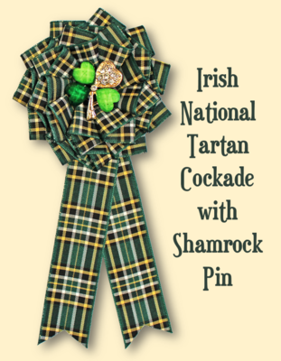 Irish National Tartan Cockade with Shamrock Pin