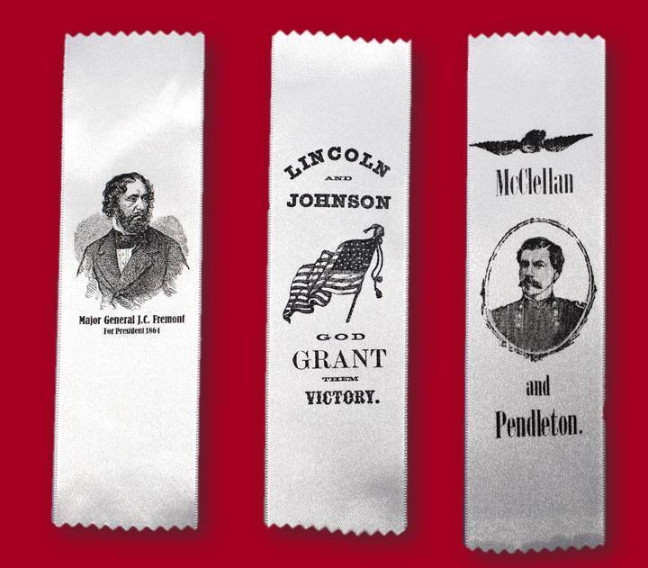 1864 Campaign Ribbon - Lincoln, McClellan or Fremont