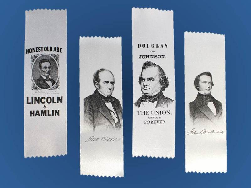 1860 Campaign Ribbon - Lincoln, Douglas, Bell or Breckenridge